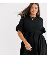 Boohoo Basic Ribbed Smock Dress In Black