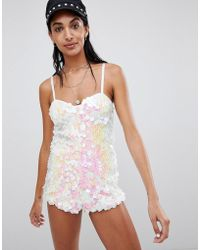 Motel - Cami Playsuit In Sequin - Lyst