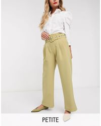 Y.A.S Petite Dina High Waisted Belted Pants-green - Natural