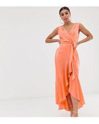 Flounce London Wrap Front Midaxi Dress In Tangerine - Orange