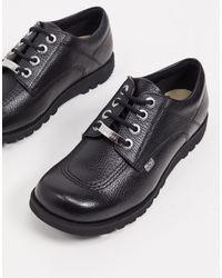 Kickers Ботинки На Плоской Подошве Со Шнуровкой Из Черной Кожи Kick Low Luxx-черный