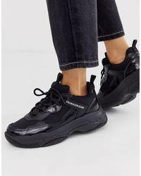 Calvin Klein Черные Кроссовки На Массивной Подошве Maya-черный