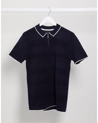 River Island Knitted Half Zip Polo - Blue
