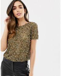 ASOS Asos Design Petite T-shirt With Sequin Embellishment - Green