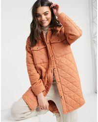 Y.A.S Quilted Longline Jacket - Orange