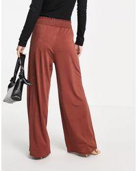 ASOS Asos Design Petite Elasticated Waist Satin Wide Leg Trouser - Brown