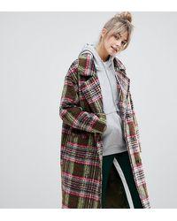 Pull&Bear Двубортное Пальто В Клетку - Многоцветный