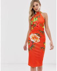 True Violet - Облегающее Платье С Высоким Воротом -мульти - Lyst