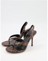 ASOS - Nature Toe Thong Slingback Heeled Sandals - Lyst