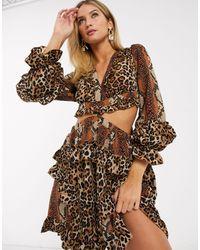 Forever Unique Платье С Длинными Рукавами И Леопардовым Принтом -многоцветный - Коричневый