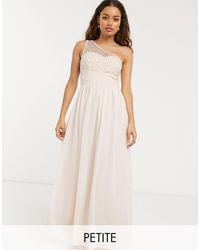 Little Mistress Vestido largo asimétrico color blush con adornos - Rosa