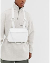 ASOS Faux Leather Chest Harness Bag In White With Chain