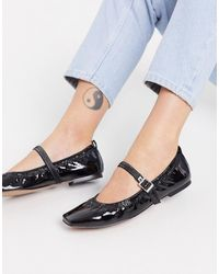 ASOS Look Out Ruched Topline Mary Jane Ballet - Black