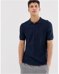Only & Sons - Polo elegante blu navy lavorata - Lyst