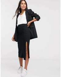 ASOS Bias Cut Jersey Midi Slip Skirt With Split - Black