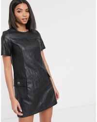 River Island Faux Leather Shift Dress - Black