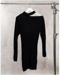 AX Paris Vestito maglia nero con cut-out sulla spalla