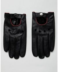 ASOS - Leather Touchscreen Driving Gloves In Black With Red Piping - Lyst