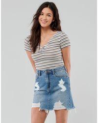 Hollister T-shirt manches courtes à rayures froncé devant - Blanc