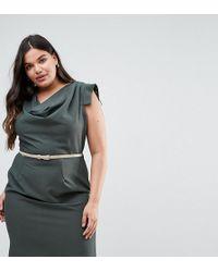 Closet London Plus - Cowl Front Pencil Dress - Lyst