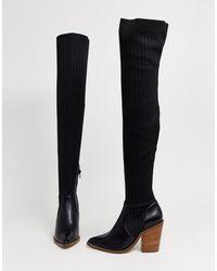 ASOS Kansas Western Flyknit Thigh High Boots In Black