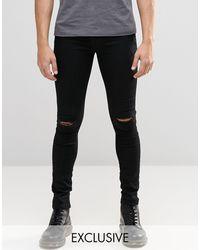 Brooklyn Supply Co. Black Hunter Spray On Denim Jeans With Knee Slit