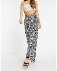 Motel High Waisted Relaxed Pants - Multicolour