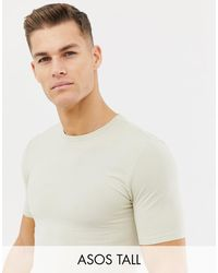 ASOS Tall Longline Muscle Fit T-shirt With Crew Neck And Stretch In Beige - Natural
