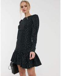 Essentiel Antwerp Vantonio Pastel Polka Dot Ruched Mini Dress - Black