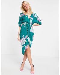 Girl In Mind Vestido midi con mangas tres cuartos y estampado floral - Azul