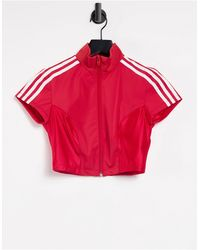 adidas Originals Zip Crop Top - Red