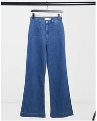 & Other Stories Organic Cotton High Waist Flare Jeans - Blue