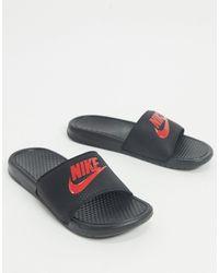 Nike Черно-красные Шлепанцы Benassi Jdi-черный - Синий
