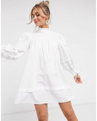 In The Style X Lorna Luxe High Neck Tie Detail Mini Shirt Dress - White