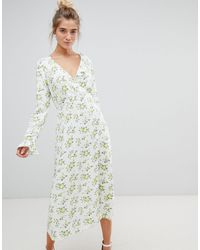 ASOS Wrap Maxi Dress With Long Sleeves - Multicolor