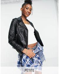 Miss Selfridge Faux Leather Biker Jacket - Black