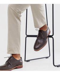 ASOS Коричневые Кожаные Туфли На Шнуровке Для Широкой Стопы С Контрастной Подошвой - Многоцветный