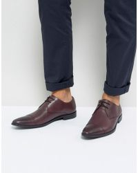 Frank Wright - Toe Cap Derby Shoes In Burgundy Leather - Lyst