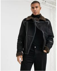 River Island Shearling Biker Jacket - Black