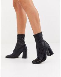 ASOS Evan - Premium Leren Sock Boots - Zwart