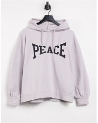 """TOPSHOP Felpa con cappuccio grigia con scritta """"Peace"""" - Grigio"""