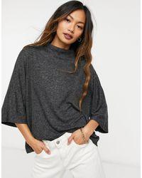 Mango High Neck Batwing T-shirt - Grey