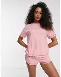 ASOS Mix & Match Jersey Pyjama Tee With Overlock - Pink