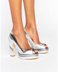 Terry De Havilland - Luna Silver Leather Peeptoe Platform Heeled Shoes - Lyst