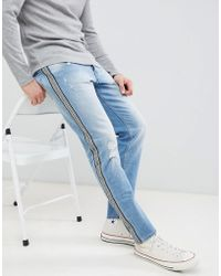 Jack & Jones Side Stripe Tapered Jeans - Blue