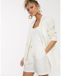 Pieces Blazer doppiopetto color crema - Bianco