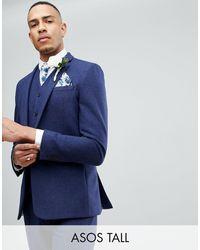 ASOS Темно-синий Приталенный Пиджак С Добавлением Шерсти Asos Tall Wedding
