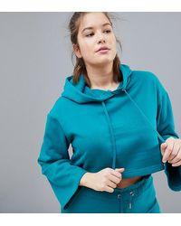 South Beach Сине-зеленый Укороченный Oversize-худи Plus - Синий