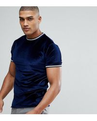 ASOS - Tall T-shirt In Navy Velour With Silver Metallic Tipping - Lyst