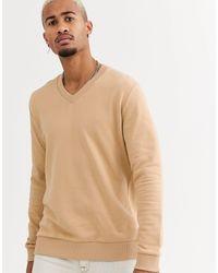 ASOS V Neck Sweatshirt - Natural